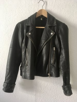 Topshop Leather Jacket black-silver-colored