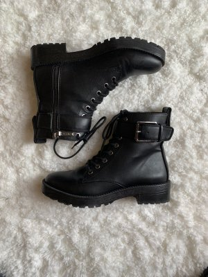 Bershka Lace-up Booties black-silver-colored