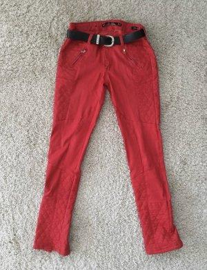 Pantalón de cuero rojo ladrillo-rojo
