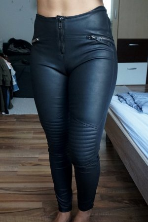 H&M Pantalon en cuir noir-gris anthracite faux cuir