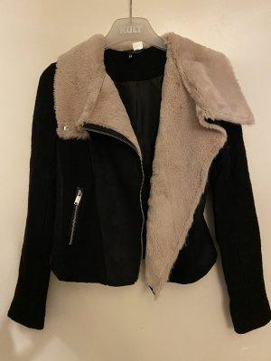 H&M Biker Jacket black-cream