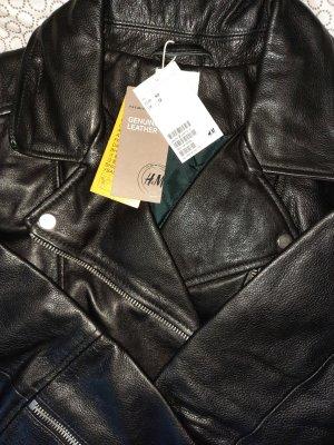 Bikerjacke aus Leder Schwarz NEU in Größe 40