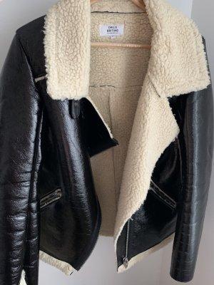 Nakd Biker Jacket black-gold-colored polyester
