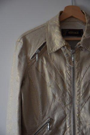 Versace Biker Jacket sand brown-silver-colored cotton