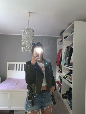 Zara Bikerjack donkergroen-khaki