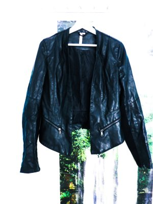 kilky Faux Leather Jacket black-silver-colored