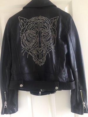 SET Urban Deluxe Kurtka typu biker czarny-srebrny Skóra