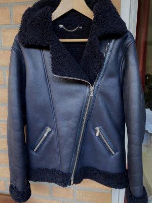 Unger Veste motard bleu foncé cuir