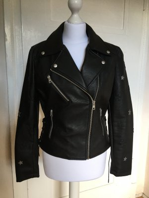 Mango Biker Jacket black-silver-colored