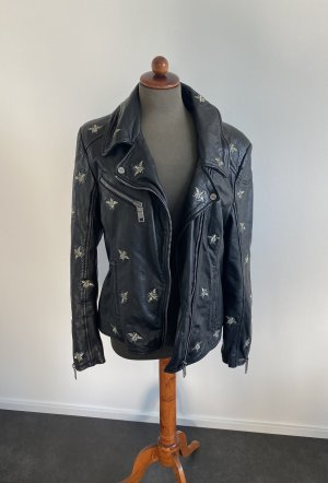 Maze Leather Jacket black-gold-colored leather