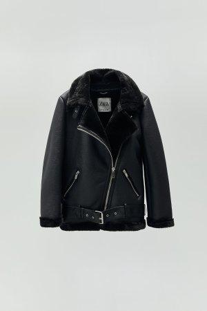 Bikerjacke Zara S 36 schwarz wie NEU Felljacke Teddyjacke mit Gürtel