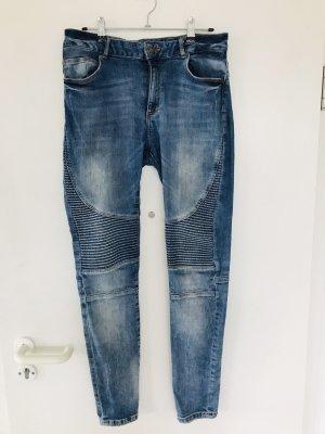 Bershka Jeans de moto bleu
