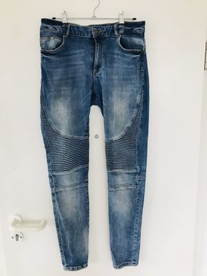 Bershka Jeans da motociclista blu