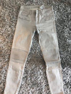 Zara Woman Jeans da motociclista grigio chiaro