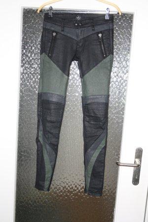 Replay Pantalon taille basse noir-argenté