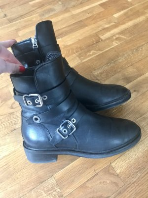 Elvio Zanon Biker Boots black leather