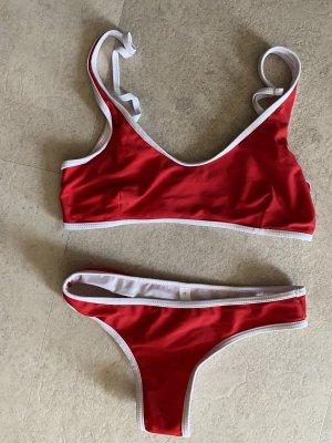 SheIn Bikini white-red