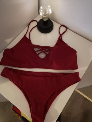 Sheinside Bikini rojo oscuro