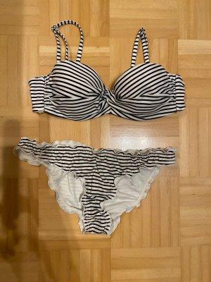 Bikini blanc-bleu foncé