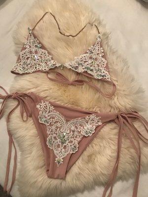 Bikini bianco-rosa antico