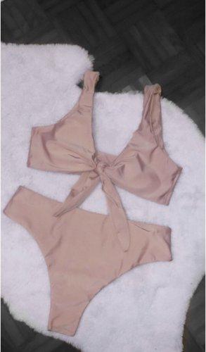 Bikini beige rosa rose high waisted pink bademode