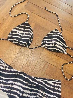 Primark Bikini blanco-negro tejido mezclado