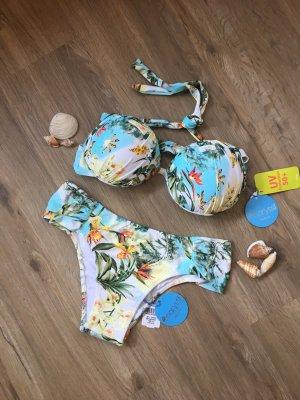 Bikini blanco-azul neón
