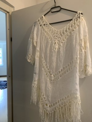 Fringed Dress white-cream