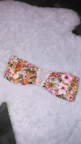 Bikini oberteil top orange gelb floral bademode badeanzug