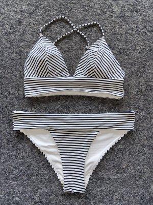 H&M Bikini blanco-azul oscuro