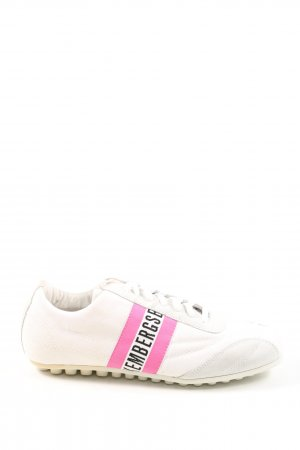 Bikkembergs Zapatilla brogue blanco-rosa look casual