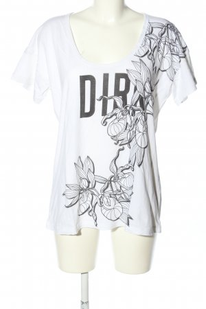 Bikkembergs Boatneck Shirt white-light grey flower pattern casual look