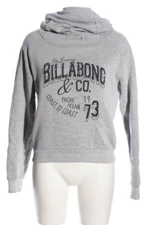 billa bong Kapuzensweatshirt hellgrau-schwarz Schriftzug gedruckt Casual-Look
