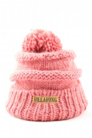 Billabong Cappello all'uncinetto rosa punto treccia stile casual