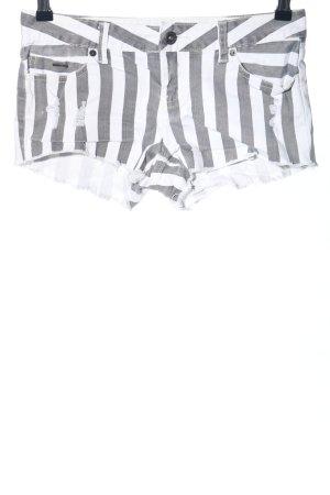 Billabong Pantaloncino di jeans bianco-grigio chiaro motivo a righe stile casual