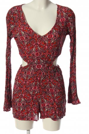 Billabong Kurzer Jumpsuit rouge-blanc imprimé allover style décontracté