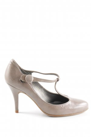 Billi Bi T-Strap Pumps grey brown leather-look