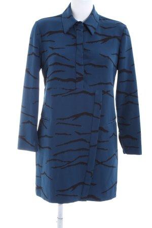 Bimba & Lola Hemdblusenkleid blau-schwarz Allover-Druck Casual-Look