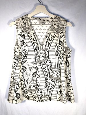 Bimba & Lola V-Neck Shirt white-black cotton