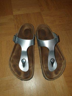 Birkenstock Sandały japonki z rzemykami srebrny