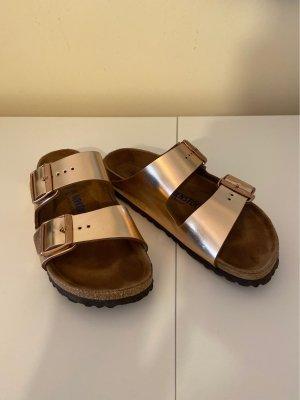 Birkenstock Sandales confort or rose-bronze