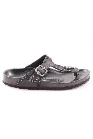 Birkenstock Flip Flop Sandalen schwarz-silberfarben Motivdruck Casual-Look