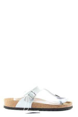 Birkenstock Chanclas nude-color plata look casual