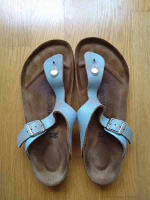 Birkenstock Toe-Post sandals gold-colored-light blue leather