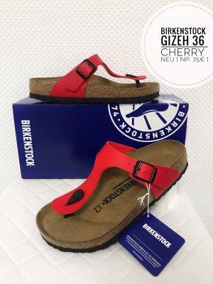 Birkenstock Gizeh cherry rot 36 neu mit Etikett Leder sandalen blogger vintage boho