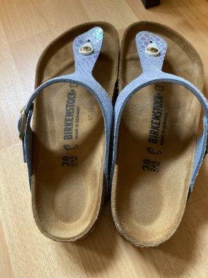 Birkenstock Sandalo con tacco alto e lacci a T azzurro