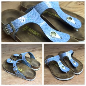 Birkenstock Toe-Post sandals baby blue-silver-colored