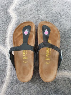 Birkenstock Toe-Post sandals black-raspberry-red leather