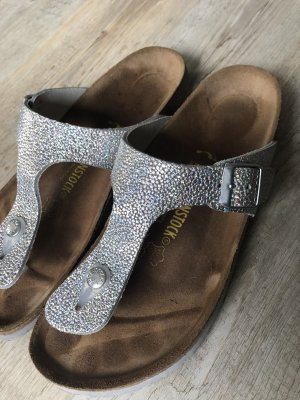 Birkenstock Toe-Post sandals silver-colored leather