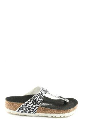 Birkenstock Zehentrenner-Sandalen schwarz-weiß Animalmuster Casual-Look